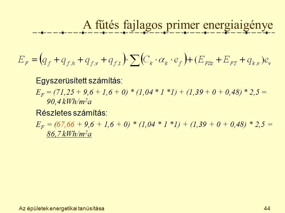 Az épületek energetikai tanúsítása44 A fűtés fajlagos primer energiaigénye Egyszerüsített számítás: E F = (71,25 + 9,6 + 1,6 + 0) * (1,04 * 1 *1) + (1,39 + 0 + 0,48) * 2,5 = 90,4 kWh/m 2 a Részletes számítás: E F = (67,66 + 9,6 + 1,6 + 0) * (1,04 * 1 *1) + (1,39 + 0 + 0,48) * 2,5 = 86,7 kWh/m 2 a