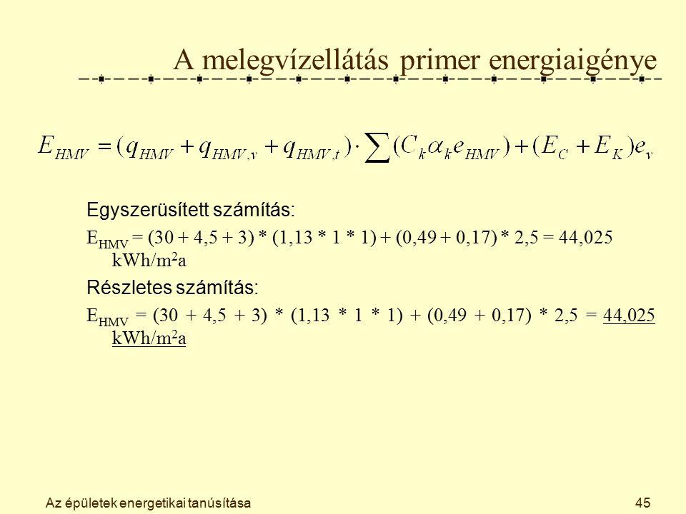 Az épületek energetikai tanúsítása45 A melegvízellátás primer energiaigénye Egyszerüsített számítás: E HMV = (30 + 4,5 + 3) * (1,13 * 1 * 1) + (0,49 + 0,17) * 2,5 = 44,025 kWh/m 2 a Részletes számítás: E HMV = (30 + 4,5 + 3) * (1,13 * 1 * 1) + (0,49 + 0,17) * 2,5 = 44,025 kWh/m 2 a