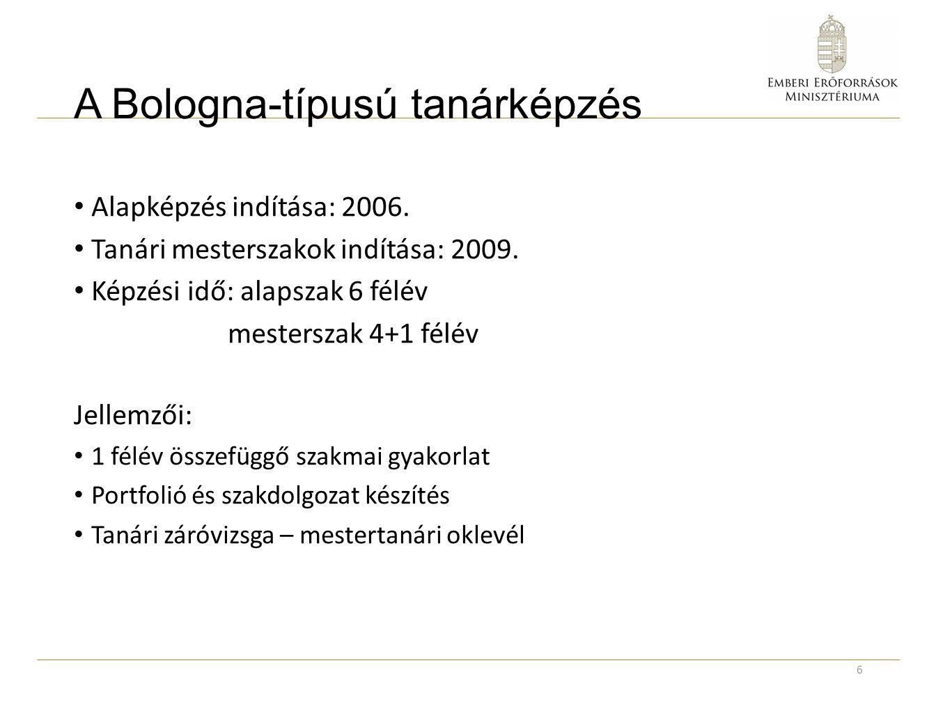 A Bologna-típusú tanárképzés Alapképzés indítása: 2006. Tanári mesterszakok indítása: 2009. Képzési idő: alapszak 6 félév mesterszak 4+1 félév Jellemz