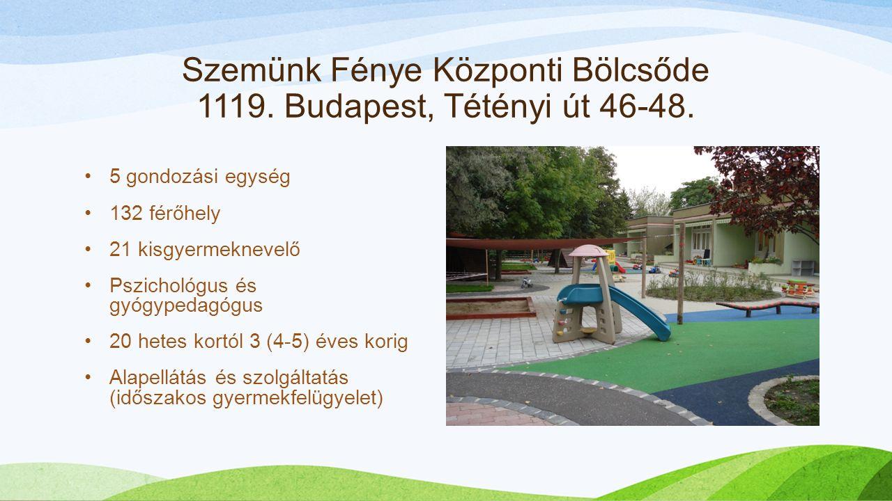 Szemünk Fénye Központi Bölcsőde 1119. Budapest, Tétényi út 46-48.