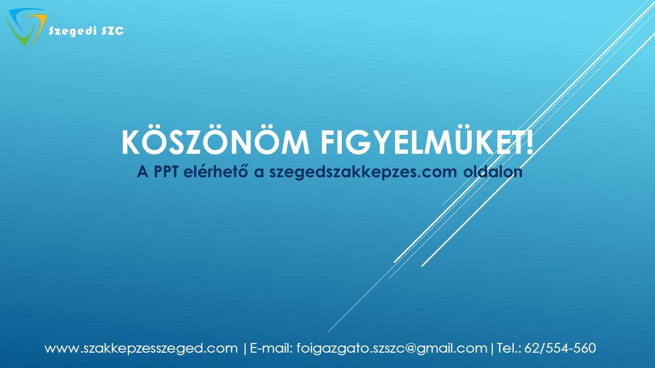 KÖSZÖNÖM FIGYELMÜKET! A PPT elérhető a szegedszakkepzes.com oldalon www.szakkepzesszeged.com |E-mail: foigazgato.szszc@gmail.com|Tel.: 62/554-560