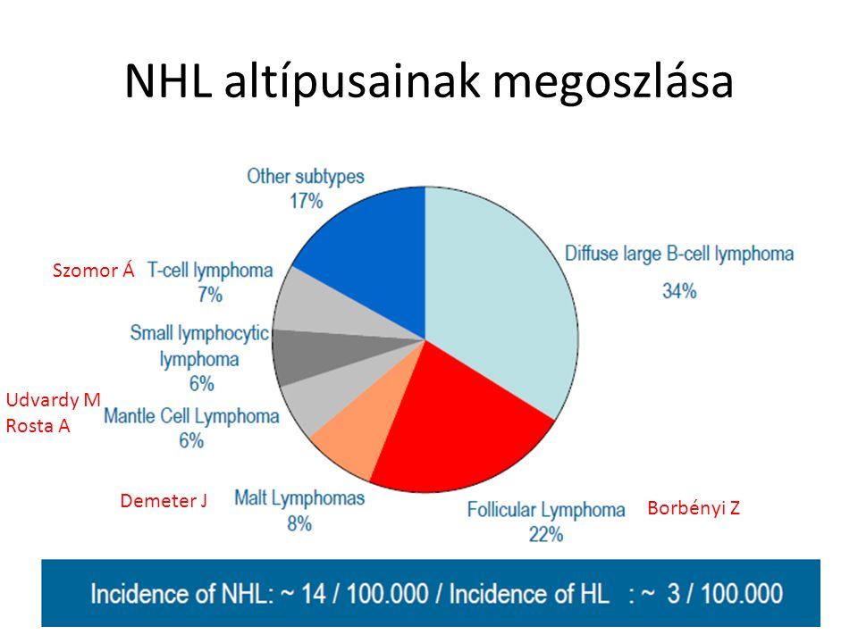 NHL altípusainak megoszlása Udvardy M Rosta A Borbényi Z Szomor Á Demeter J