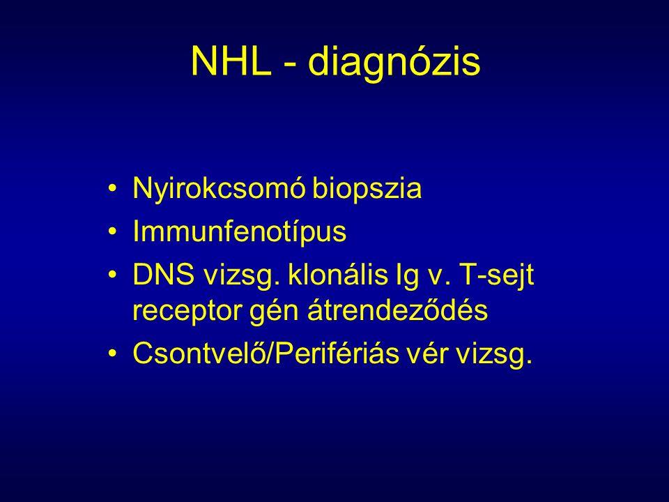 NHL - diagnózis Nyirokcsomó biopszia Immunfenotípus DNS vizsg.