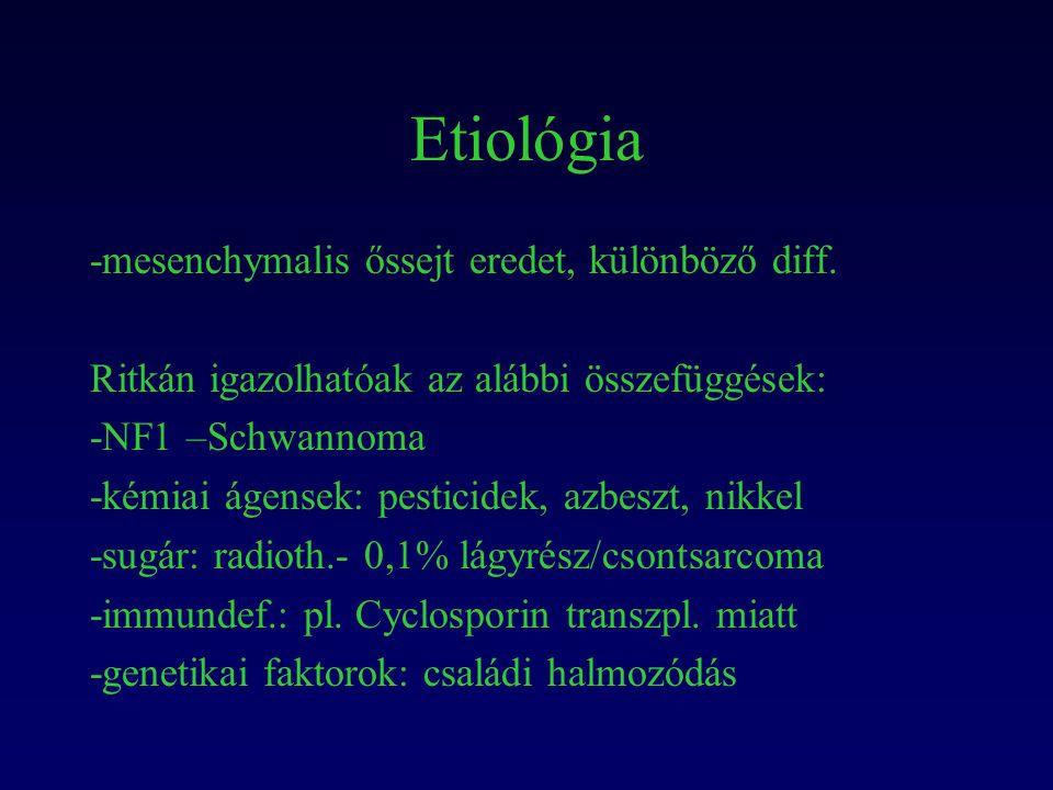 Etiológia -mesenchymalis őssejt eredet, különböző diff.