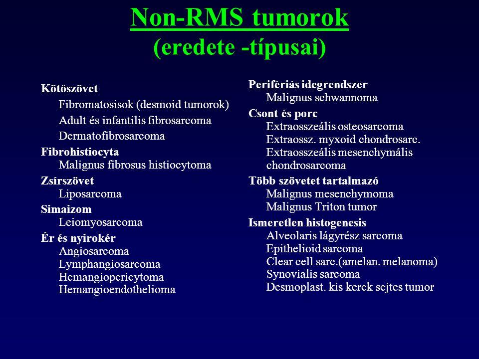 Non-RMS tumorok (eredete -típusai) Kötőszövet Fibromatosisok (desmoid tumorok) Adult és infantilis fibrosarcoma Dermatofibrosarcoma.