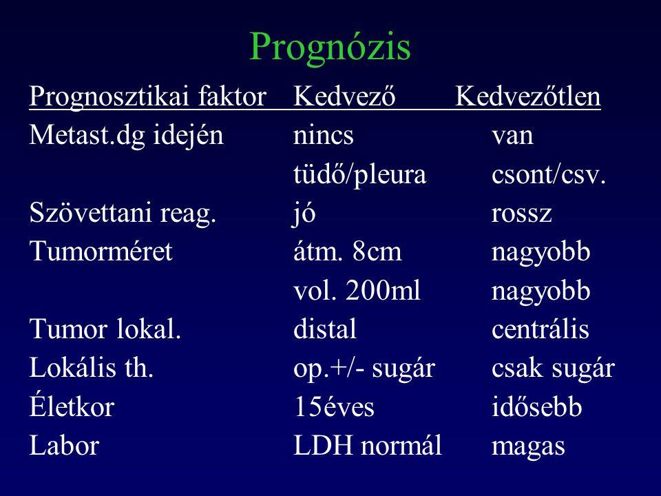 Prognózis Prognosztikai faktorKedvező Kedvezőtlen Metast.dg idejénnincsvan tüdő/pleuracsont/csv.