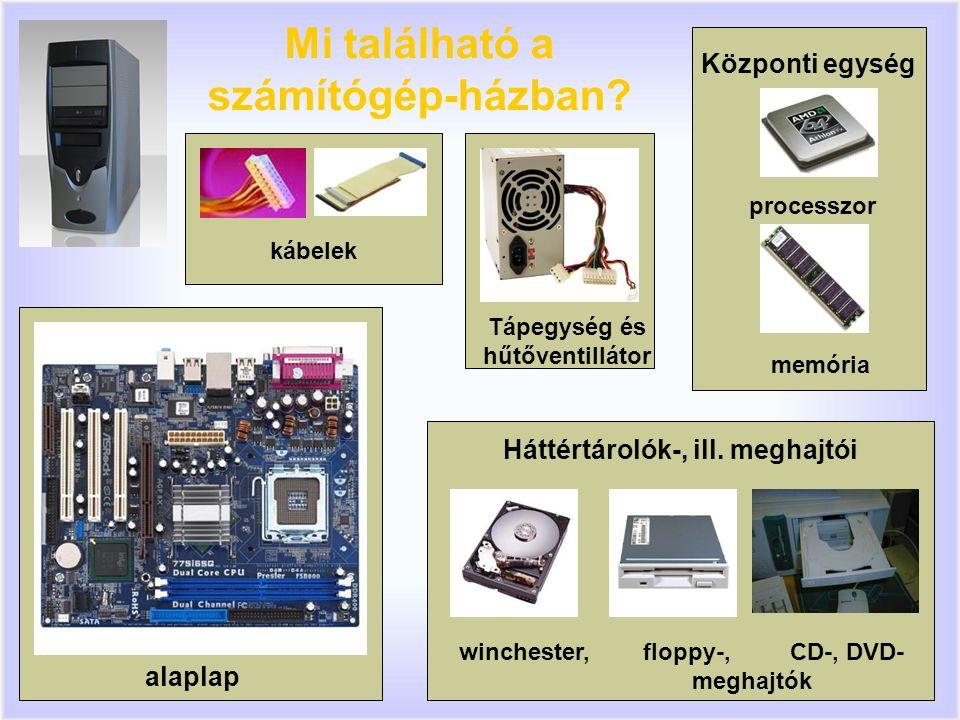3 Központi egység processzor memória Mi található a számítógép-házban.
