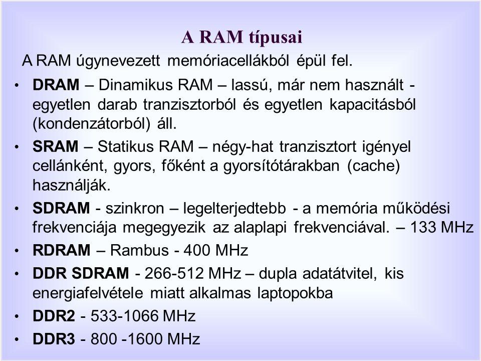 A RAM típusai DRAM – Dinamikus RAM – lassú, már nem használt - egyetlen darab tranzisztorból és egyetlen kapacitásból (kondenzátorból) áll.