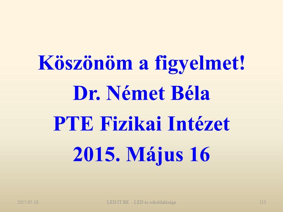 Köszönöm a figyelmet. Dr. Német Béla PTE Fizikai Intézet 2015.