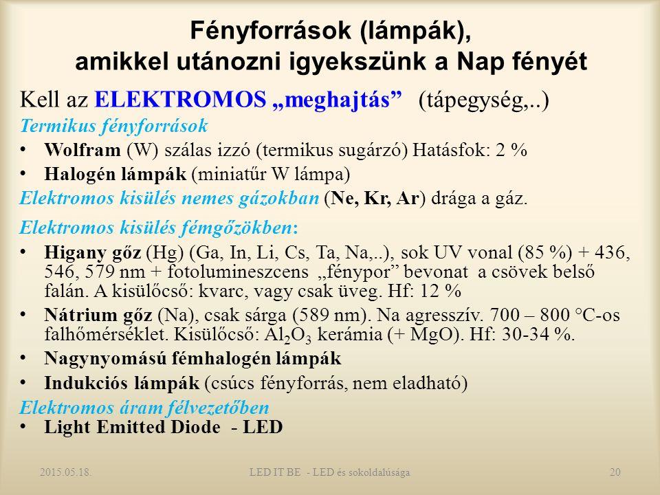 """Fényforrások (lámpák), amikkel utánozni igyekszünk a Nap fényét Kell az ELEKTROMOS """"meghajtás (tápegység,..) Termikus fényforrások Wolfram (W) szálas izzó (termikus sugárzó) Hatásfok: 2 % Halogén lámpák (miniatűr W lámpa) Elektromos kisülés nemes gázokban (Ne, Kr, Ar) drága a gáz."""