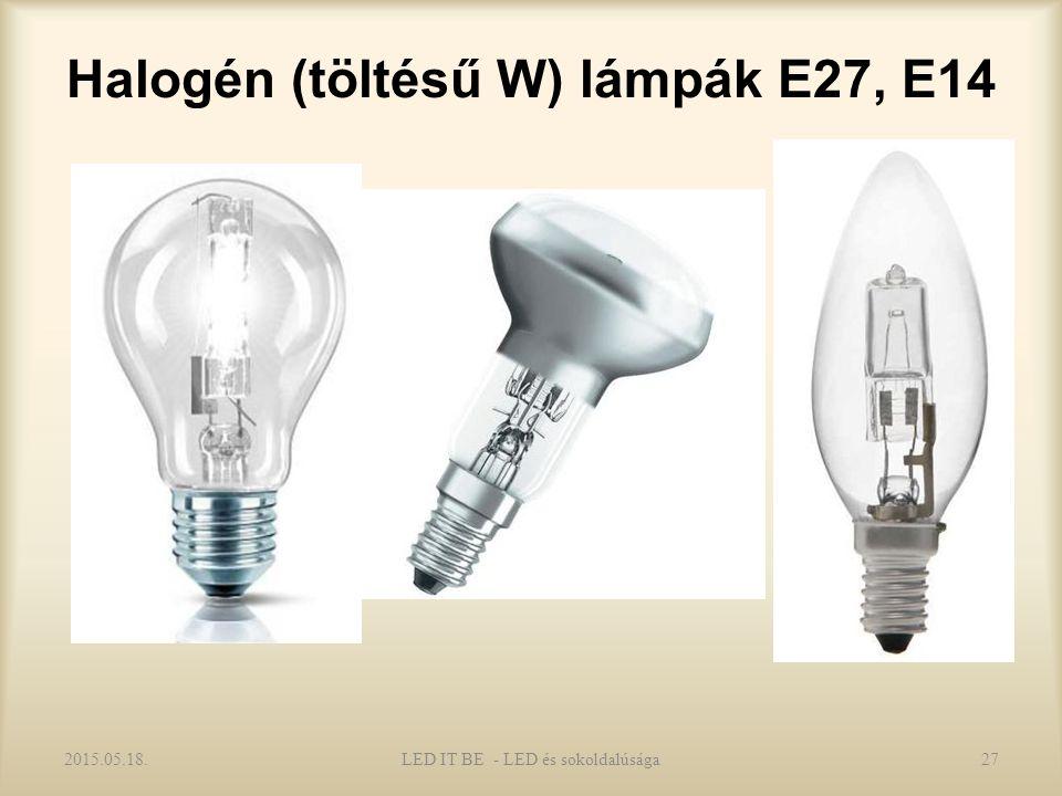 Halogén (töltésű W) lámpák E27, E14 2015.05.18.LED IT BE - LED és sokoldalúsága27