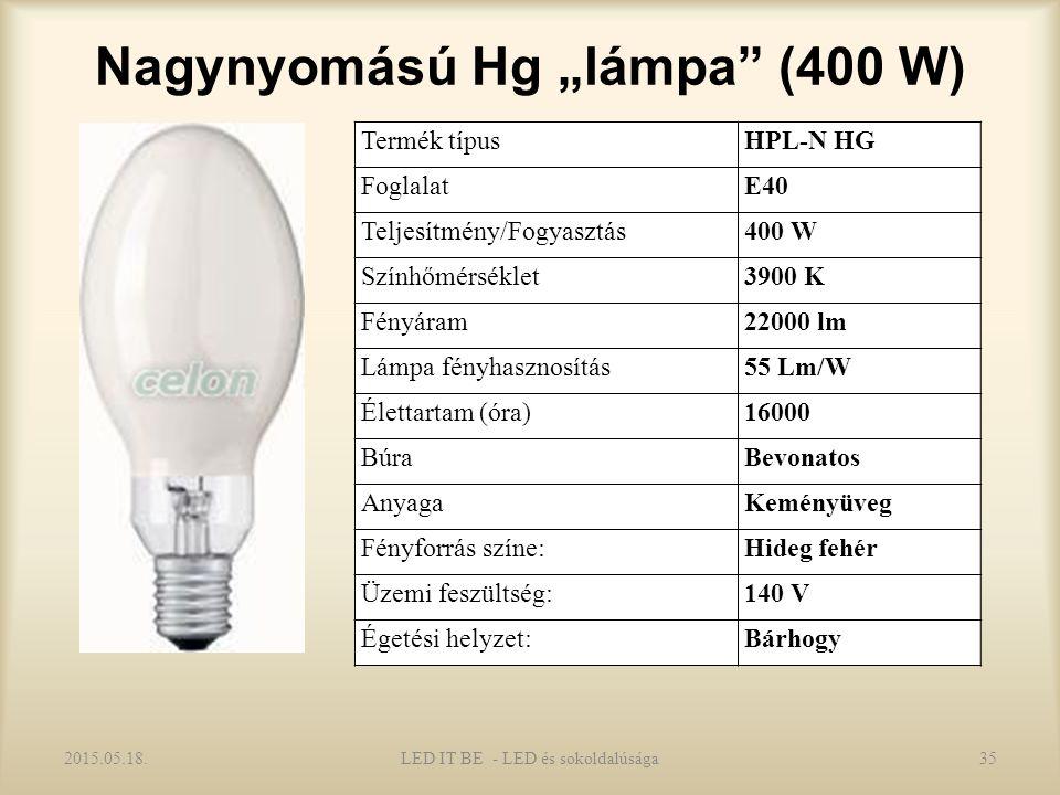 """Nagynyomású Hg """"lámpa (400 W) 2015.05.18.LED IT BE - LED és sokoldalúsága35 Termék típusHPL-N HG FoglalatE40 Teljesítmény/Fogyasztás400 W Színhőmérséklet3900 K Fényáram22000 lm Lámpa fényhasznosítás55 Lm/W Élettartam (óra)16000 BúraBevonatos AnyagaKeményüveg Fényforrás színe:Hideg fehér Üzemi feszültség:140 V Égetési helyzet:Bárhogy"""