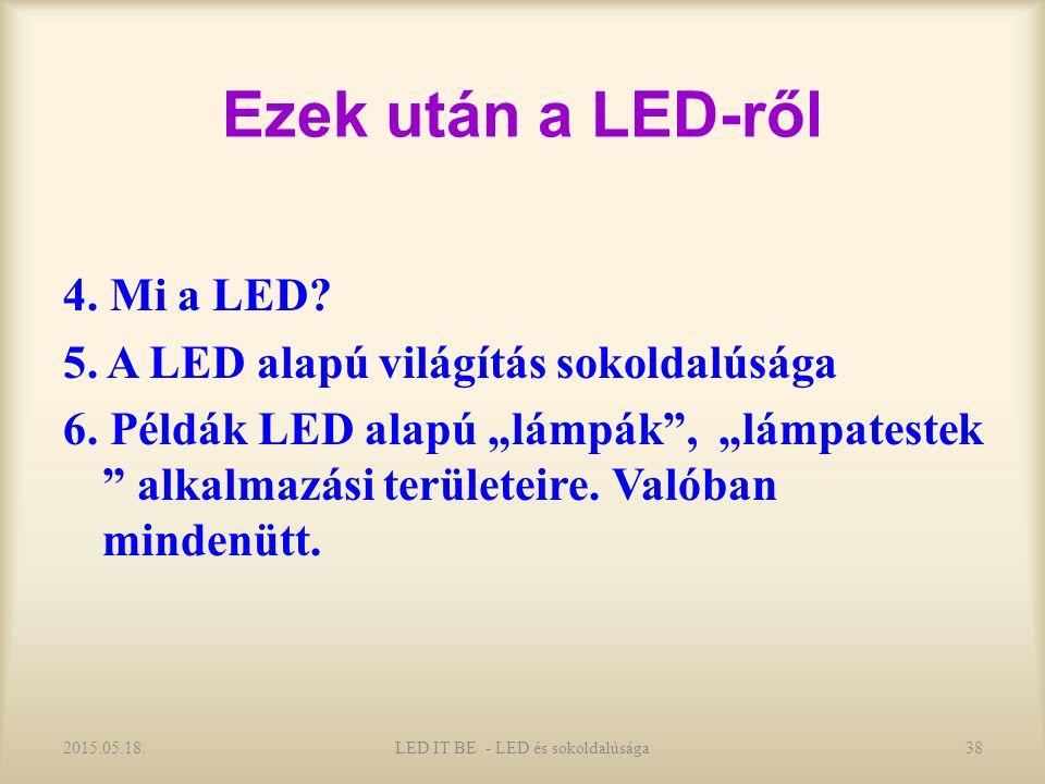 Ezek után a LED-ről 4. Mi a LED. 5. A LED alapú világítás sokoldalúsága 6.