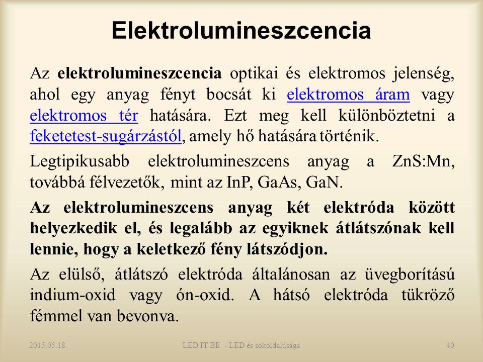 Elektrolumineszcencia Az elektrolumineszcencia optikai és elektromos jelenség, ahol egy anyag fényt bocsát ki elektromos áram vagy elektromos tér hatására.
