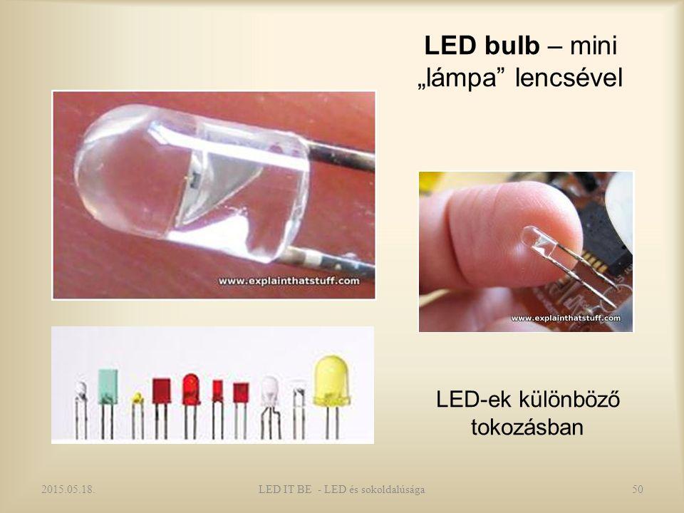 """LED bulb – mini """"lámpa lencsével 2015.05.18.50LED IT BE - LED és sokoldalúsága LED-ek különböző tokozásban"""