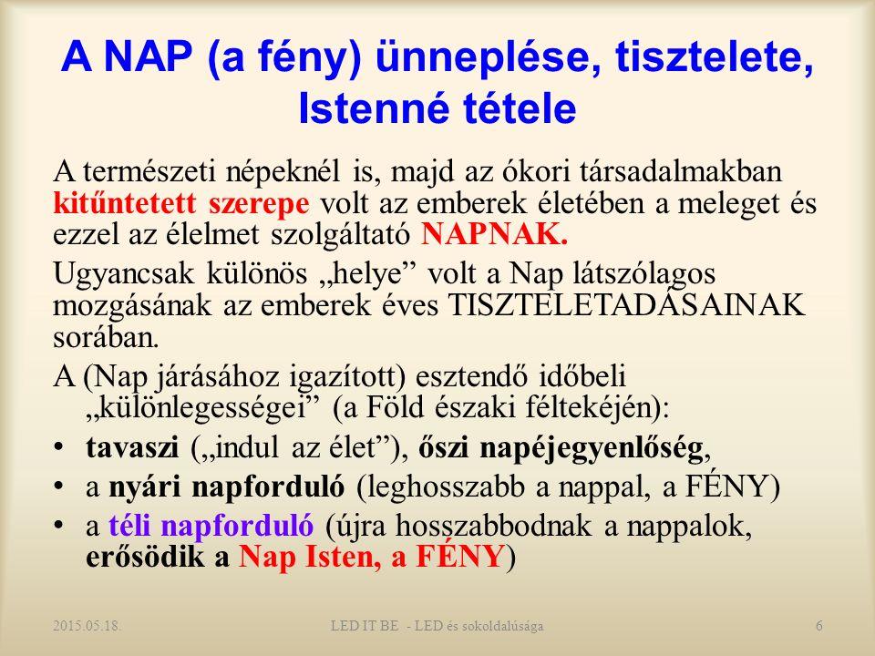 A NAP (a fény) ünneplése, tisztelete, Istenné tétele A természeti népeknél is, majd az ókori társadalmakban kitűntetett szerepe volt az emberek életében a meleget és ezzel az élelmet szolgáltató NAPNAK.