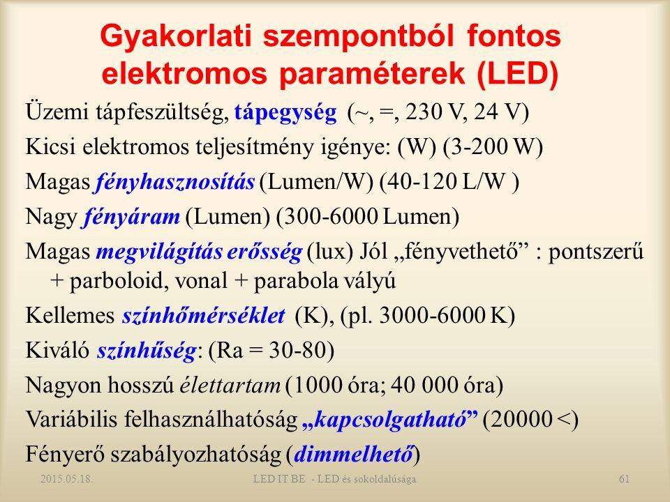 """Gyakorlati szempontból fontos elektromos paraméterek (LED) Üzemi tápfeszültség, tápegység (~, =, 230 V, 24 V) Kicsi elektromos teljesítmény igénye: (W) (3-200 W) Magas fényhasznosítás (Lumen/W) (40-120 L/W ) Nagy fényáram (Lumen) (300-6000 Lumen) Magas megvilágítás erősség (lux) Jól """"fényvethető : pontszerű + parboloid, vonal + parabola vályú Kellemes színhőmérséklet (K), (pl."""