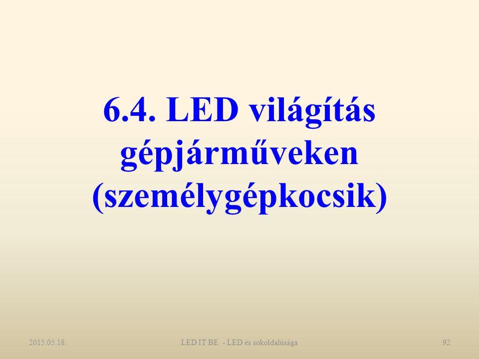 6.4. LED világítás gépjárműveken (személygépkocsik) 2015.05.18.LED IT BE - LED és sokoldalúsága92