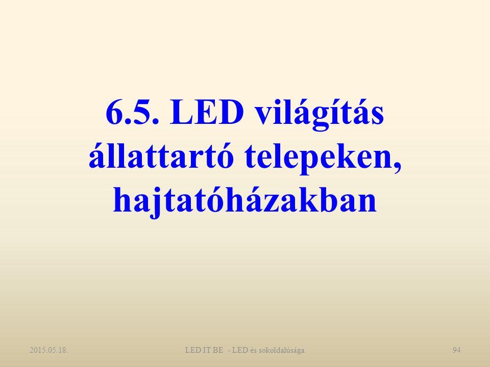 6.5. LED világítás állattartó telepeken, hajtatóházakban 2015.05.18.LED IT BE - LED és sokoldalúsága94