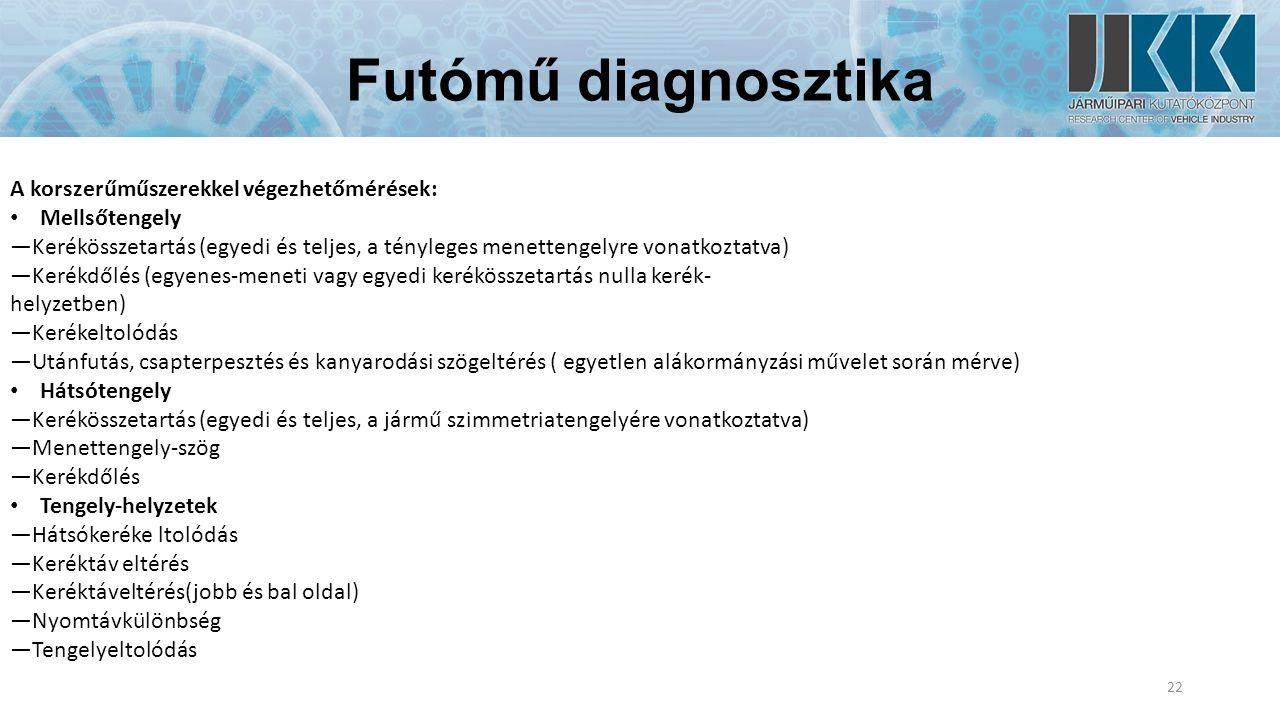 Futómű diagnosztika 22 A korszerűműszerekkel végezhetőmérések: Mellsőtengely —Kerékösszetartás (egyedi és teljes, a tényleges menettengelyre vonatkoztatva) —Kerékdőlés (egyenes-meneti vagy egyedi kerékösszetartás nulla kerék- helyzetben) —Kerékeltolódás —Utánfutás, csapterpesztés és kanyarodási szögeltérés ( egyetlen alákormányzási művelet során mérve) Hátsótengely —Kerékösszetartás (egyedi és teljes, a jármű szimmetriatengelyére vonatkoztatva) —Menettengely-szög —Kerékdőlés Tengely-helyzetek —Hátsókeréke ltolódás —Keréktáv eltérés —Keréktáveltérés(jobb és bal oldal) —Nyomtávkülönbség —Tengelyeltolódás