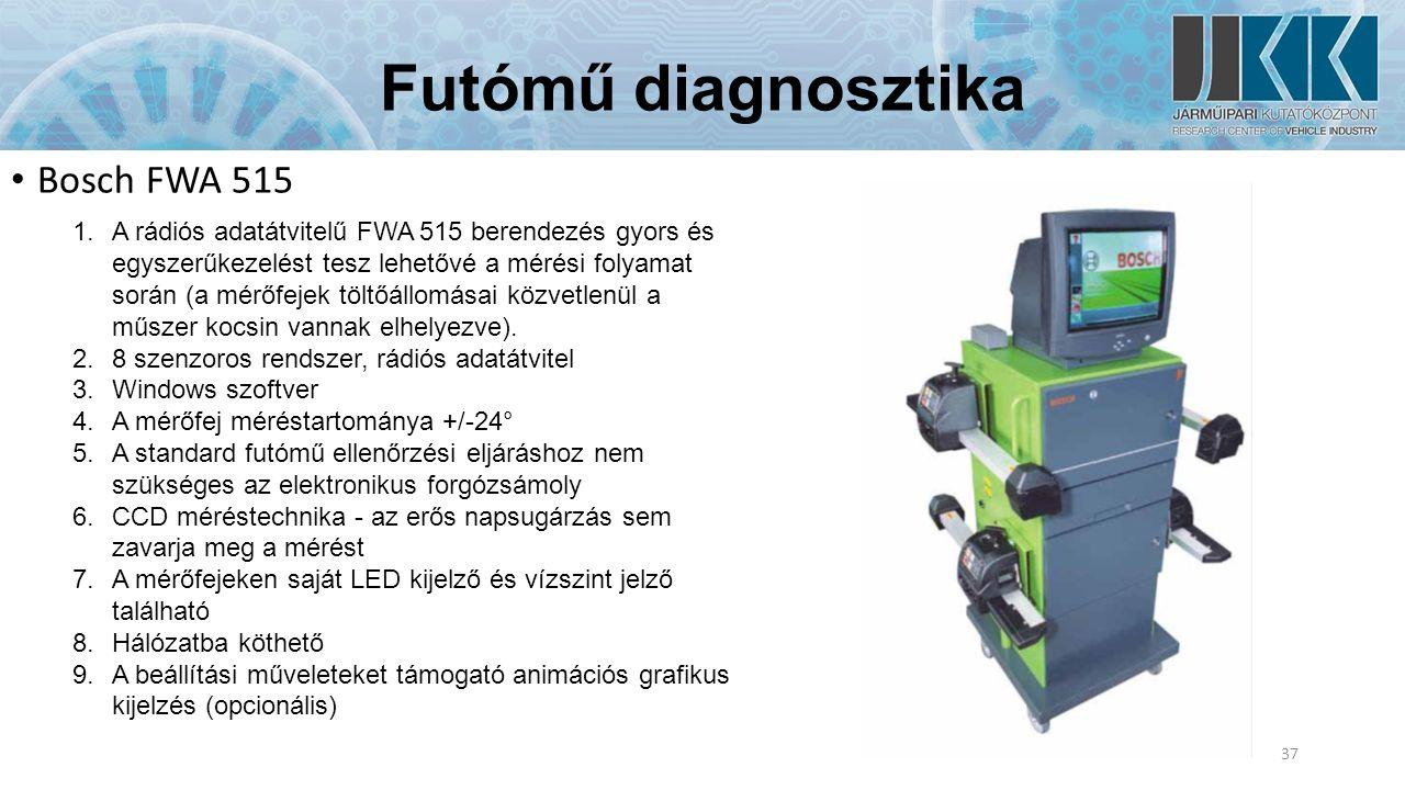 Futómű diagnosztika Bosch FWA 515 37 1.A rádiós adatátvitelű FWA 515 berendezés gyors és egyszerűkezelést tesz lehetővé a mérési folyamat során (a mérőfejek töltőállomásai közvetlenül a műszer kocsin vannak elhelyezve).