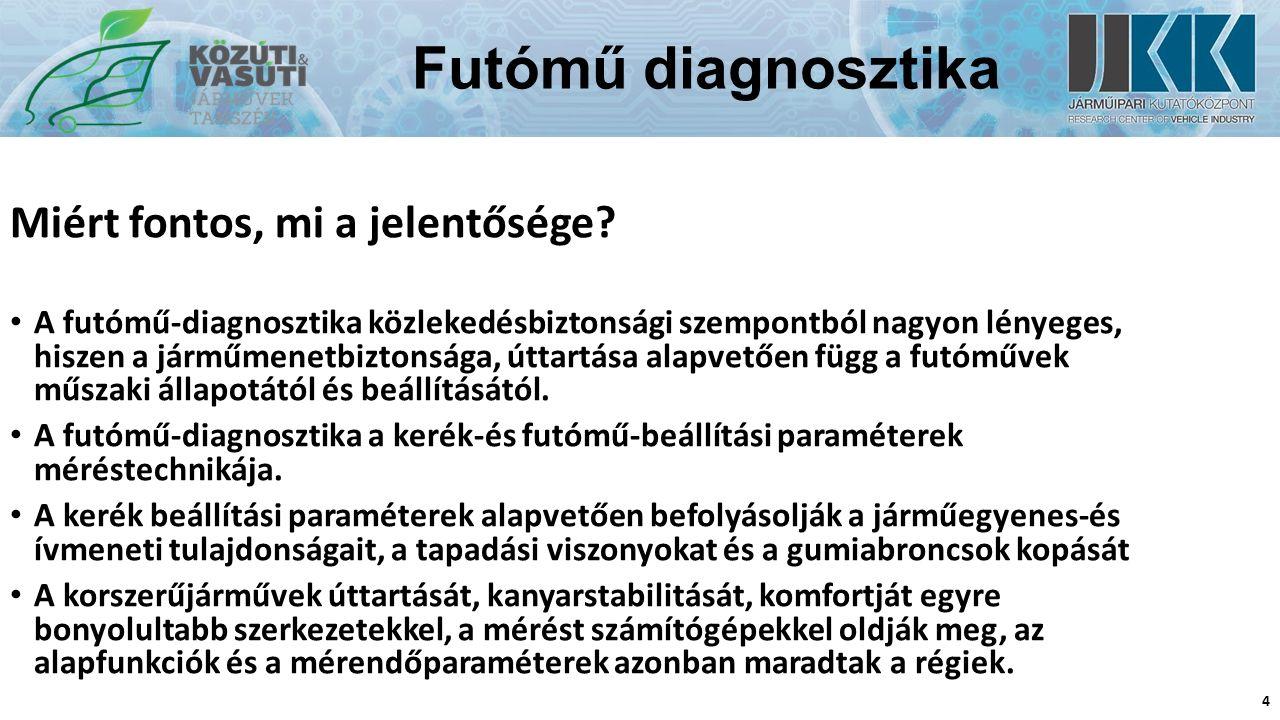 Futómű diagnosztika Utánfutás 15 A csapterpesztés és az utánfutás értéke csupán közvetetten, balra-jobbra 2Oº- kaltörténőalákormányzás során mérhető meg.