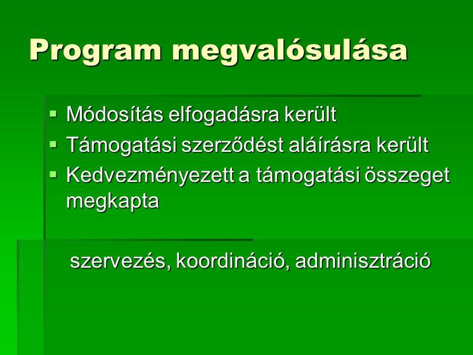 Program megvalósulása  Módosítás elfogadásra került  Támogatási szerződést aláírásra került  Kedvezményezett a támogatási összeget megkapta szervezés, koordináció, adminisztráció