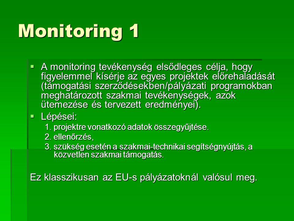 Monitoring 1  A monitoring tevékenység elsődleges célja, hogy figyelemmel kísérje az egyes projektek előrehaladását (támogatási szerződésekben/pályázati programokban meghatározott szakmai tevékenységek, azok ütemezése és tervezett eredményei).