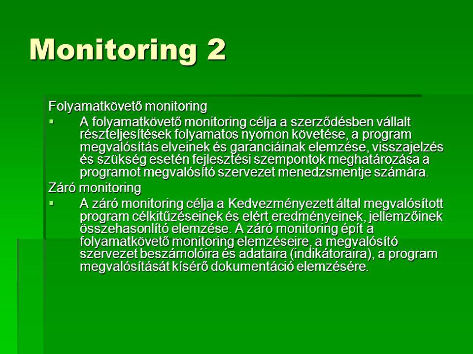 Monitoring 2 Folyamatkövető monitoring  A folyamatkövető monitoring célja a szerződésben vállalt részteljesítések folyamatos nyomon követése, a program megvalósítás elveinek és garanciáinak elemzése, visszajelzés és szükség esetén fejlesztési szempontok meghatározása a programot megvalósító szervezet menedzsmentje számára.