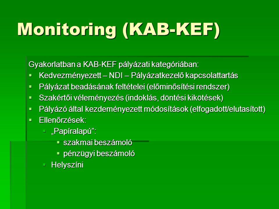 """Monitoring (KAB-KEF) Gyakorlatban a KAB-KEF pályázati kategóriában:  Kedvezményezett – NDI – Pályázatkezelő kapcsolattartás  Pályázat beadásának feltételei (előminősítési rendszer)  Szakértői véleményezés (indoklás, döntési kikötések)  Pályázó által kezdeményezett módosítások (elfogadott/elutasított)  Ellenőrzések:  """"Papíralapú :  szakmai beszámoló  pénzügyi beszámoló  Helyszíni"""