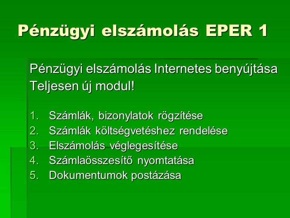 Pénzügyi elszámolás EPER 1 Pénzügyi elszámolás Internetes benyújtása Teljesen új modul.