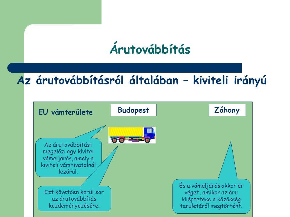 © Dézsi Zsolt Árutovábbítás A szállítmány a Közösség egy másik vámhatárán elhagyja a vámterületet. Röszke kiléptetés beléptetés Záhony EU vámterülete