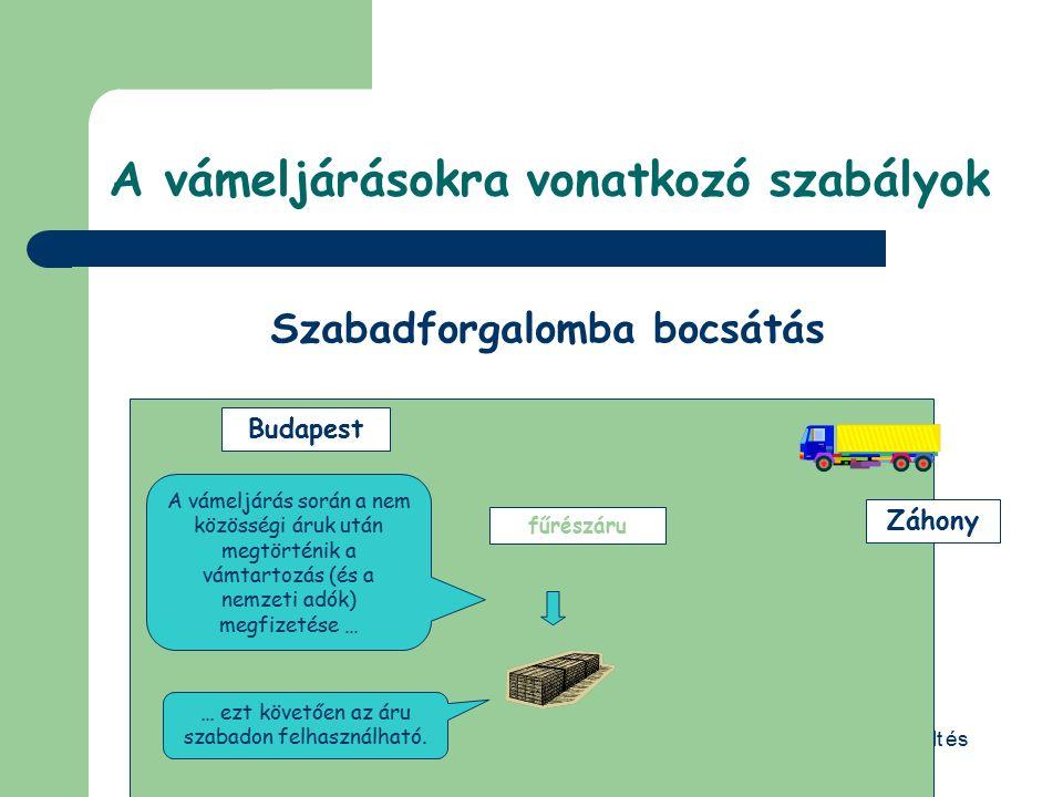 © Dézsi Zsolt 4. Árutovábbítás 4.1.1 Belső árutovábbítás (T2) A Közösség vámterületén lévő egyik pontról a másikra közösségi áruk szállítását jelenti,