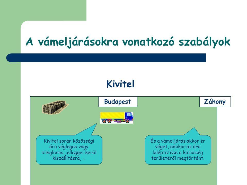 © Dézsi Zsolt © Készítette: Dézsi Zsolt és Zoltay Gergely Záhony Budapest Szabadforgalomba bocsátás A vámeljárás során a nem közösségi áruk után megtörténik a vámtartozás (és a nemzeti adók) megfizetése … … ezt követően az áru szabadon felhasználható.