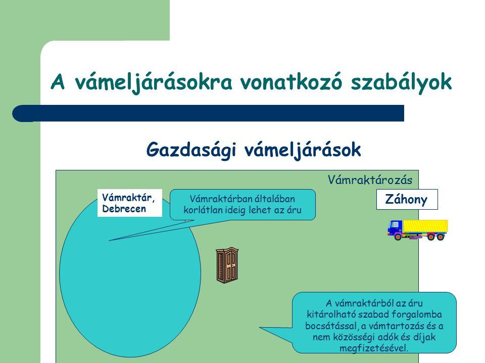 © Dézsi Zsolt Vámraktárakra vonatkozó rendelkezések Általános szabályai Fogalma: a vámraktározás vámeljárás lehetővé teszi, hogy árut a vámjogi sorsán