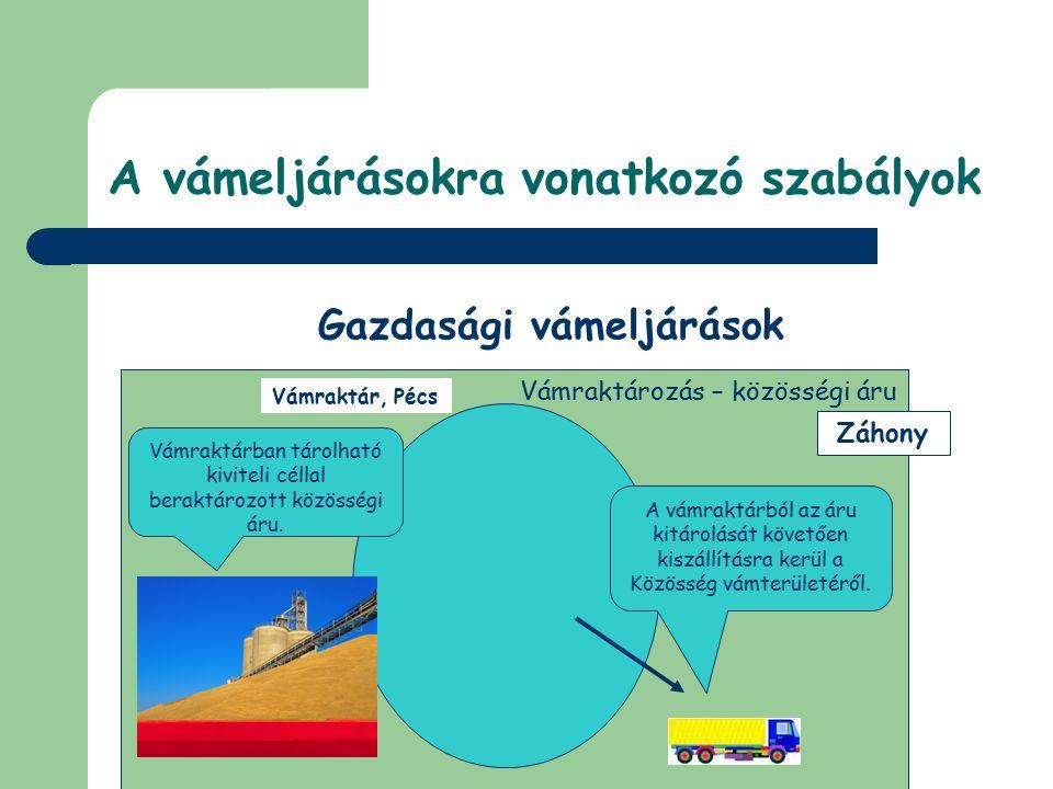 © Dézsi Zsolt A vámeljárásokra vonatkozó szabályok Gazdasági vámeljárások Vámraktározás – nem közösségi áru Vámraktár, Miskolc Záhony Vámraktárban ált