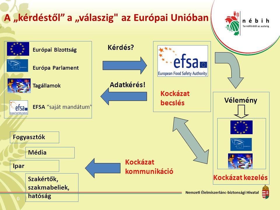 """0 A """"kérdéstől a """"válaszig az Európai Unióban Európai Bizottság Európa Parlament Tagállamok EFSA saját mandátum Kérdés."""