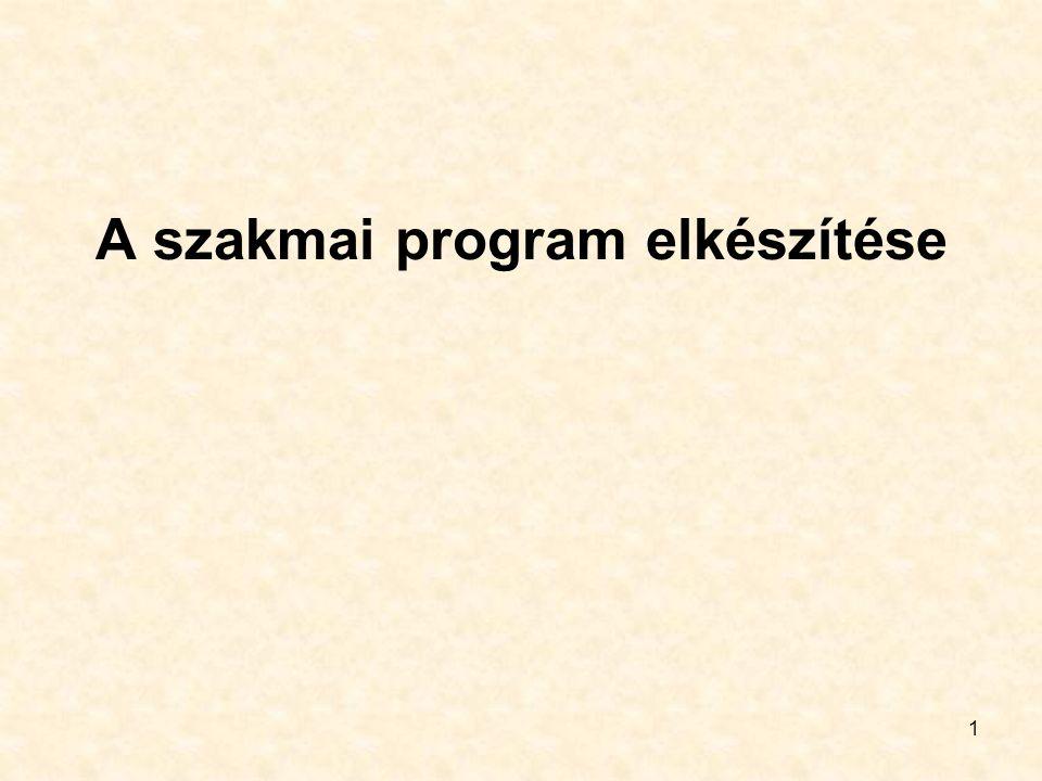 1 A szakmai program elkészítése