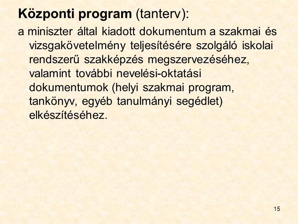 15 Központi program (tanterv): a miniszter által kiadott dokumentum a szakmai és vizsgakövetelmény teljesítésére szolgáló iskolai rendszerű szakképzés megszervezéséhez, valamint további nevelési-oktatási dokumentumok (helyi szakmai program, tankönyv, egyéb tanulmányi segédlet) elkészítéséhez.