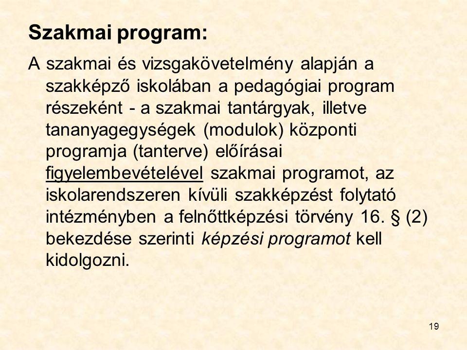 19 Szakmai program: A szakmai és vizsgakövetelmény alapján a szakképző iskolában a pedagógiai program részeként - a szakmai tantárgyak, illetve tananyagegységek (modulok) központi programja (tanterve) előírásai figyelembevételével szakmai programot, az iskolarendszeren kívüli szakképzést folytató intézményben a felnőttképzési törvény 16.