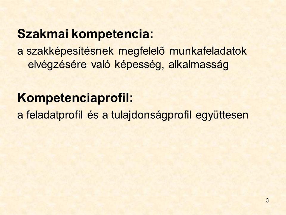 3 Szakmai kompetencia: a szakképesítésnek megfelelő munkafeladatok elvégzésére való képesség, alkalmasság Kompetenciaprofil: a feladatprofil és a tulajdonságprofil együttesen