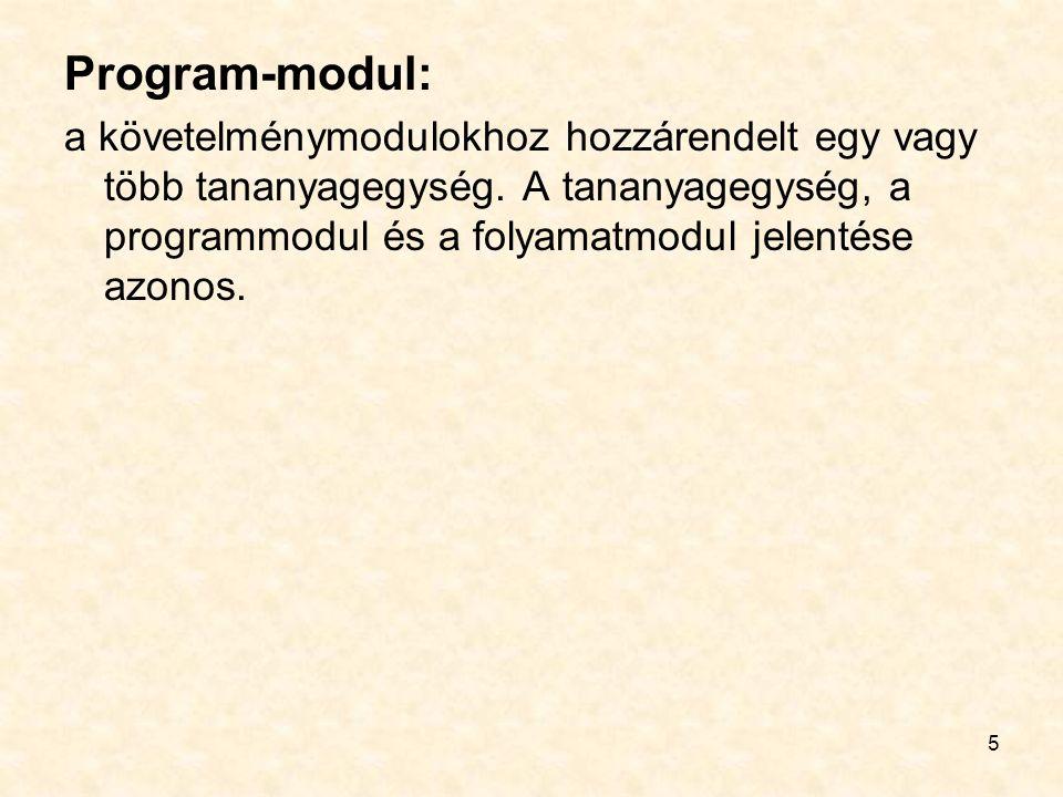 5 Program-modul: a követelménymodulokhoz hozzárendelt egy vagy több tananyagegység.