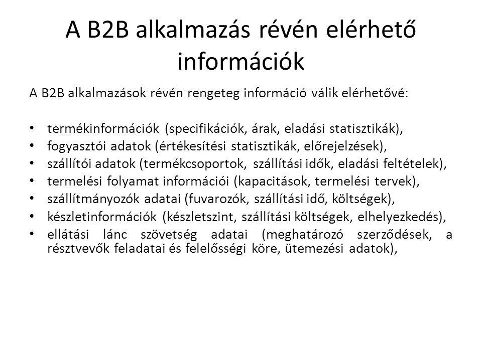 A B2B alkalmazás révén elérhető információk A B2B alkalmazások révén rengeteg információ válik elérhetővé: termékinformációk (specifikációk, árak, eladási statisztikák), fogyasztói adatok (értékesítési statisztikák, előrejelzések), szállítói adatok (termékcsoportok, szállítási idők, eladási feltételek), termelési folyamat információi (kapacitások, termelési tervek), szállítmányozók adatai (fuvarozók, szállítási idő, költségek), készletinformációk (készletszint, szállítási költségek, elhelyezkedés), ellátási lánc szövetség adatai (meghatározó szerződések, a résztvevők feladatai és felelősségi köre, ütemezési adatok),
