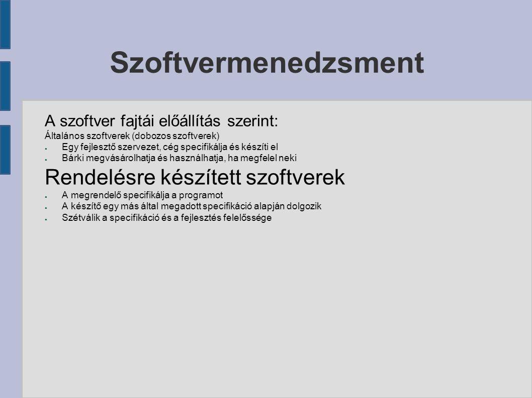 Saját fejlesztésű szoftver költségei Szoftvermenedzsment