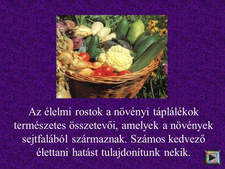 Az élelmi rostok a növényi táplálékok természetes összetevői, amelyek a növények sejtfalából származnak. Számos kedvező élettani hatást tulajdonítunk