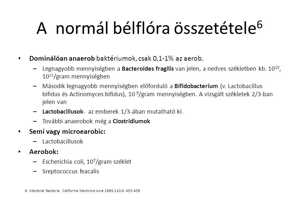 A normál bélflóra összetétele 6 Dominálóan anaerob baktériumok, csak 0,1-1% az aerob. – Legnagyobb mennyiségben a Bacteroides fragilis van jelen, a ne