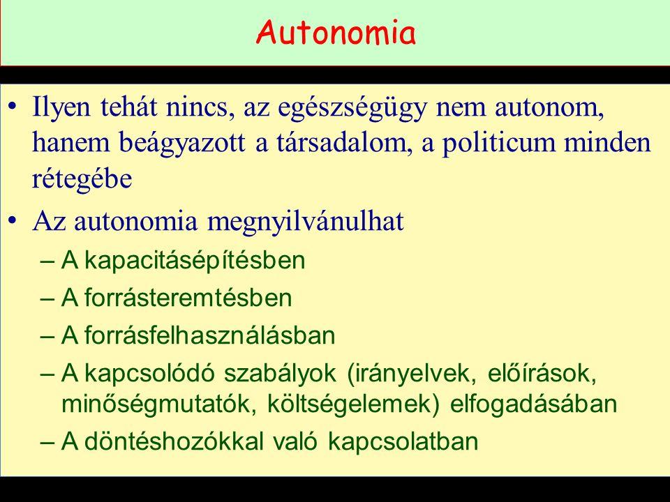Autonomia Ilyen tehát nincs, az egészségügy nem autonom, hanem beágyazott a társadalom, a politicum minden rétegébe Az autonomia megnyilvánulhat –A kapacitásépítésben –A forrásteremtésben –A forrásfelhasználásban –A kapcsolódó szabályok (irányelvek, előírások, minőségmutatók, költségelemek) elfogadásában –A döntéshozókkal való kapcsolatban