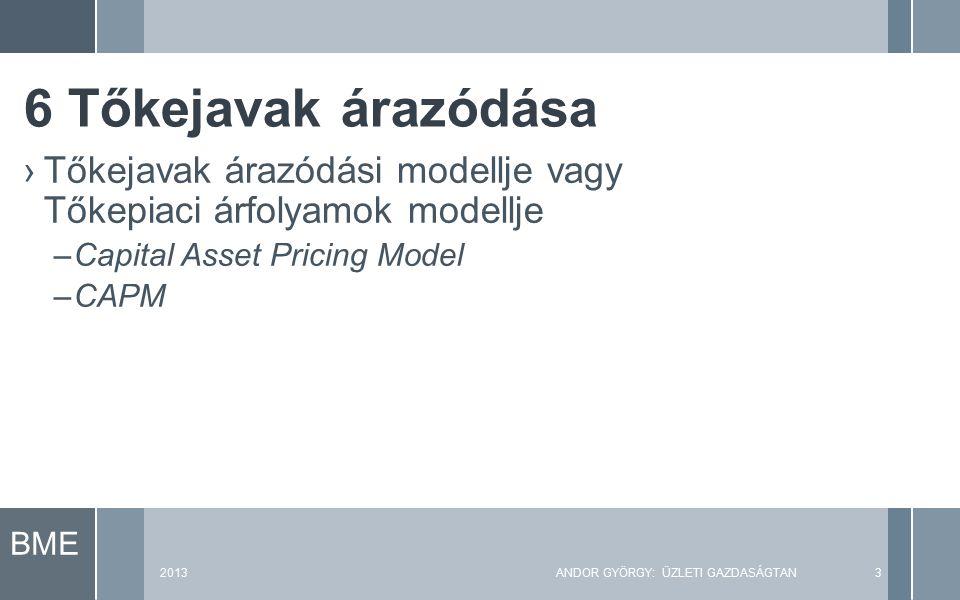 BME 2013ANDOR GYÖRGY: ÜZLETI GAZDASÁGTAN3 ›Tőkejavak árazódási modellje vagy Tőkepiaci árfolyamok modellje –Capital Asset Pricing Model –CAPM 6 Tőkejavak árazódása