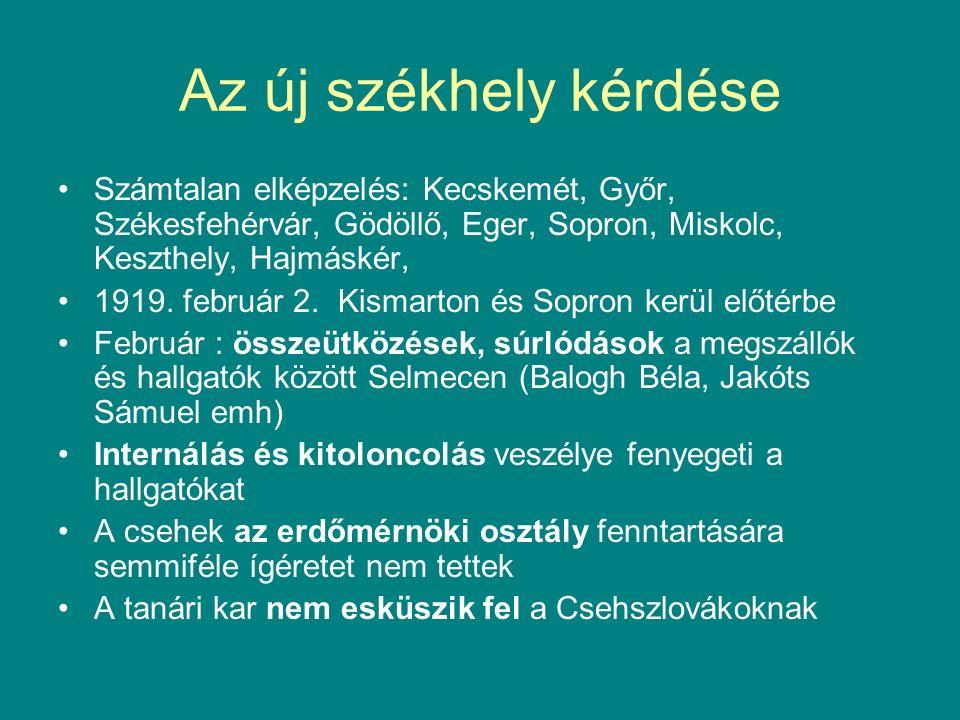 Az új székhely kérdése Számtalan elképzelés: Kecskemét, Győr, Székesfehérvár, Gödöllő, Eger, Sopron, Miskolc, Keszthely, Hajmáskér, 1919.