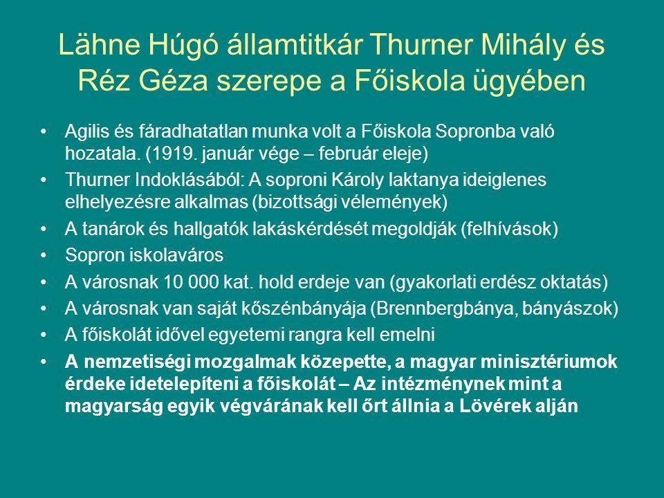Lähne Húgó államtitkár Thurner Mihály és Réz Géza szerepe a Főiskola ügyében Agilis és fáradhatatlan munka volt a Főiskola Sopronba való hozatala.